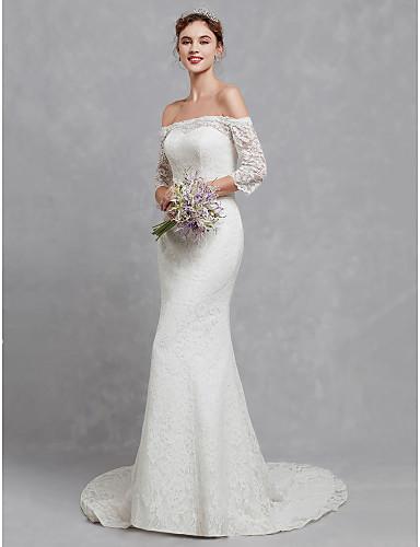 970e14445a2 Trompeta / Sirena Hombros Caídos Corte Encaje Vestidos de novia ...