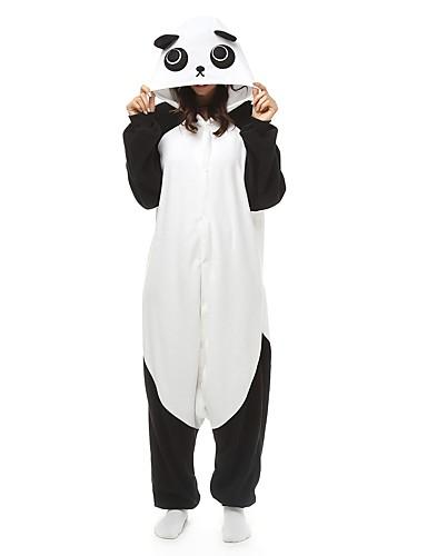 preiswerte Sale-Erwachsene Kigurumi-Pyjamas Panda Pyjamas-Einteiler Polar-Fleece Maroon / Schwarz / Weiß / Orange Cosplay Für Herren und Damen Tiernachtwäsche Karikatur Fest / Feiertage Kostüme
