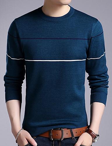 זול סוודרים וקרדיגנים לגברים-מבוגרים M / L / XL שחור / פול / אודם צווארון עגול אקריליק, מגשר סוודר סוודר רגיל רגיל שרוול ארוך פסים יומי בגדי ריקוד גברים
