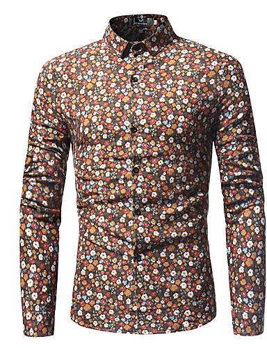 levne Pánské košile-Pánské - Geometrický Základní Košile, Tisk Oranžová