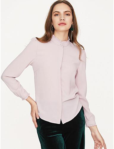 preiswerte Trendfarben für den Frühling-Damen Solide - Schick & Modern Baumwolle Hemd, Hemdkragen Moderner Stil Staubige Rose Weiß