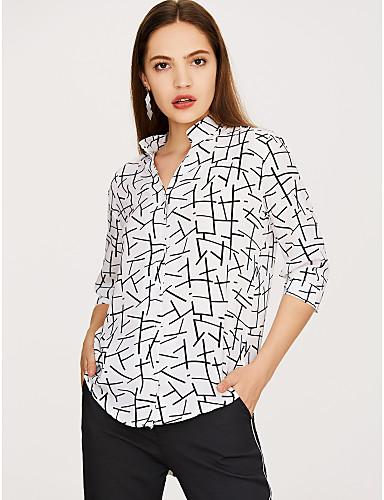 billige Dametopper-Løstsittende Skjortekrage Bluse Dame - Geometrisk, Lapper Grunnleggende / Gatemote Ut på byen Hvit / Vår / Sommer