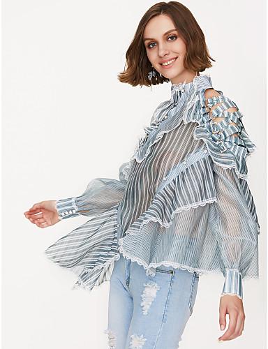 billige Dametopper-Bluse Dame - Stripet Lysegrønn / Drapering