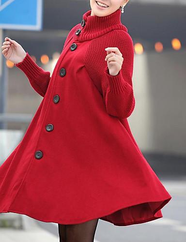 preiswerte Überbekleidung-Damen Alltag Grundlegend / Street Schick Herbst Winter Lang Mantel, Solide Rollkragen Langarm Elasthan Schwarz / Rote / Dunkelgray / Lose