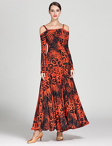 cheap Ballroom Dancewear-Ballroom Dance Dress Pattern / Print Women's Training Performance Long Sleeve High Ice Silk