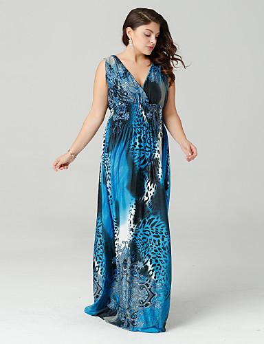 voordelige Grote maten jurken-Dames Grote maten Boho Wijd uitlopend Jurk - Luipaard, Geplooid / Print Diepe V-hals Maxi / Luipaard