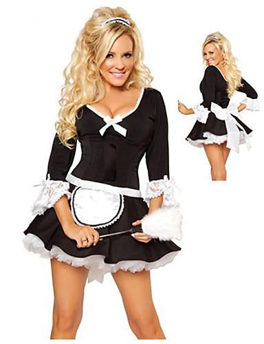 billige Sexy Uniformer-Dame Stuepike Kostumer karriere Kostymer Stuepike Uniform Kjønn Cosplay Kostumer Party-kostyme Fargeblokk Kjole / Lær