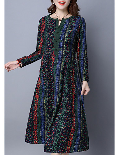 preiswerte Herbst- und Winterkleider-Damen Chinoiserie Hülle Kleid - Druck, Grafik Midi