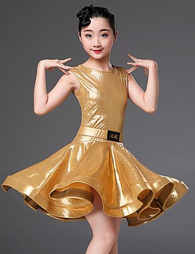 levne Shall We®-Latinské tance Šaty Dívčí Výkon Polyester Šerpa / Stuha / Sklady Krátký rukáv Vysoký Šaty