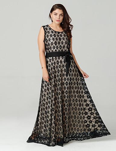 voordelige Maxi-jurken-Dames Grote maten Vintage Kant Jurk - Polka dot, Kant Maxi