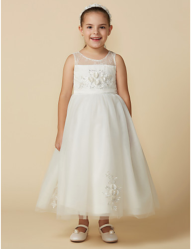 52c1c61f597 Princess Tea Length Flower Girl Dress - Lace   Tulle Sleeveless Jewel Neck  with Beading   Appliques   Belt by LAN TING BRIDE®   Engagement Party  6845757 ...