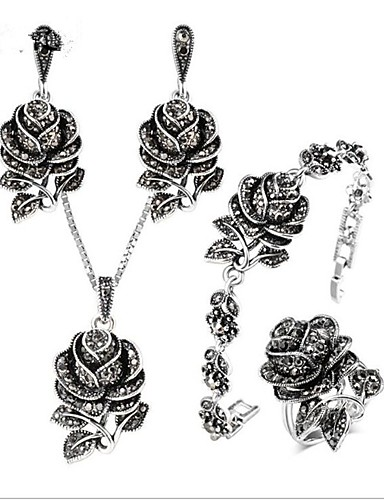 cheap Sterling Silver Jewelry Sets-Women's AAA Cubic Zirconia Vintage Necklace Vintage Style Flower Ladies Vintage Titanium Steel S925 Sterling Silver Earrings Jewelry Gray For Wedding Daily Evening Party Masquerade Engagement Party