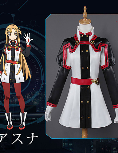 cheap Anime Costumes-Inspired by SAO Swords Art Online Asuna Yuuki Anime Cosplay Costumes Japanese Cosplay Suits Anime Long Sleeve Top Pants Gloves For Women's / Socks / Necklace / Bracelets / Sash / Ribbon / Socks