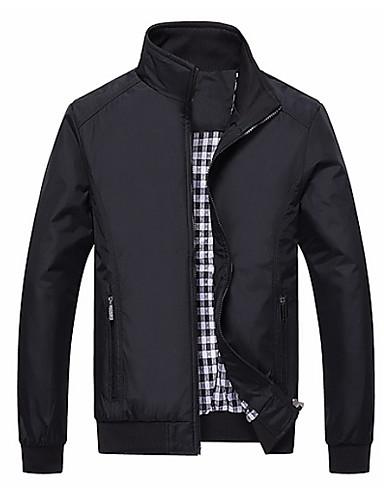 preiswerte Herrenjacken-Herrn Sport Herbst Winter Standard Jacke, Solide Ständer Langarm Polyester Blau / Schwarz
