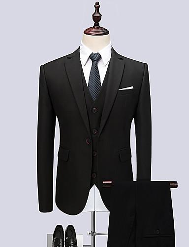 abordables Smokings & Costumes-Smokings Coupe Sur-Mesure / Coupe Standard Cranté Droit 1 bouton Polyester Couleur Pleine