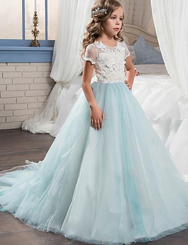 levne Krásné šaty-Princess Long Length Šaty pro květinovou družičku - Krajka / Tyl Krátký rukáv Klenot s Aplikace / Barevně dělené podle LAN TING Express