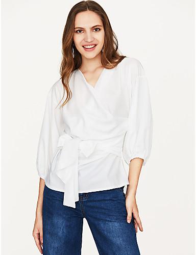 billige Skjorter til damer-Bomull Løse skuldre / Dyp V Skjorte Dame - Ensfarget Grunnleggende Blå
