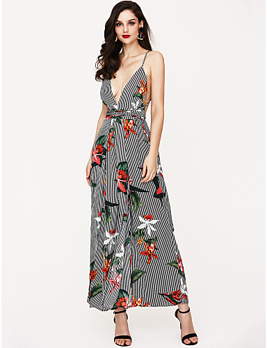 79f44b38bd9 Women s Backless Floral Daily   Holiday Deep V Black Wide Leg Jumpsuit