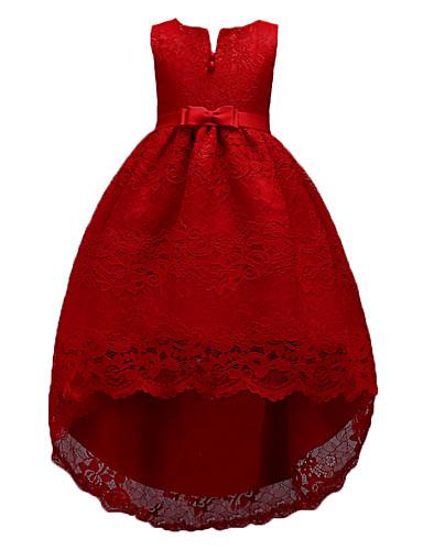 preiswerte Baby & Kinder-Kinder Mädchen Süß nette Art Party Festtage Solide Ärmellos Knielang Asymmetrisch Kleid Rote / Baumwolle