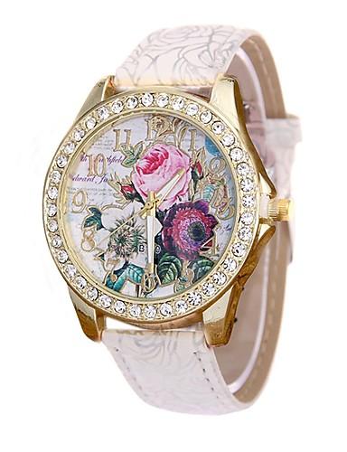 preiswerte Blumen Uhr-Damen Uhr Kleideruhr Armbanduhr Diamond Watch Quartz Gestepptes PU - Kunstleder Schwarz / Weiß / Blau Neues Design Armbanduhren für den Alltag Imitation Diamant Analog damas Freizeit Modisch Rot Blau
