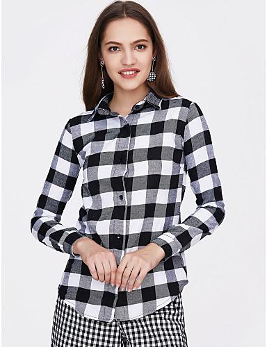 billige Dametopper-Bomull Skjortekrage Skjorte Dame - Rutet Gatemote Ferie Svart / Vår