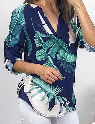 billige Skjorter til damer-Dyp V Skjorte Dame - Geometrisk Grønn