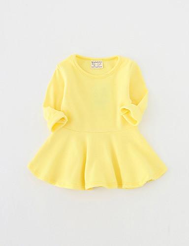 preiswerte Kleider mit Spitze für Mädchen-Baby Mädchen Grundlegend Solide Langarm Baumwolle Kleid Grau