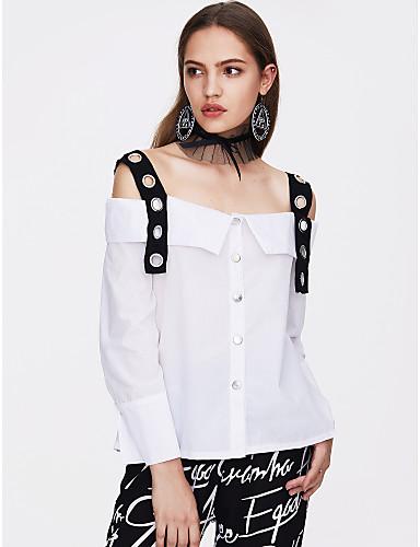 billige Skjorter til damer-Med stropper / Båthals Skjorte Dame - Fargeblokk, Lapper Grunnleggende Ut på byen / Klubb Hvit / Vår / Sommer / Sexy