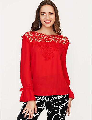 billige Dametopper-Bomull Puffermer T-skjorte Dame - Ensfarget, Dusk Vintage Svart & Rød Hvit