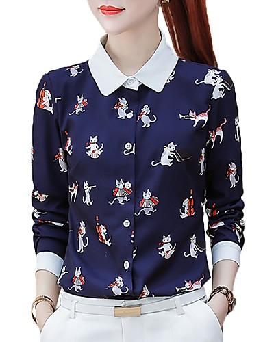billige Topper til damer-Skjortekrage Store størrelser Skjorte Dame - Dyr Arbeid Katt Navyblå