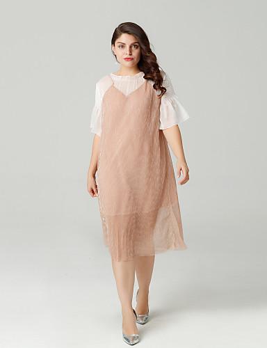 preiswerte Staubige Rose-Damen Ausgehen A-Linie Kleid Übers Knie
