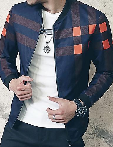 preiswerte Baseballjacken-Herrn Alltag Street Schick Standard Jacke, Zeitgenössisch Rundhalsausschnitt Langarm Polyester Rote / Marineblau