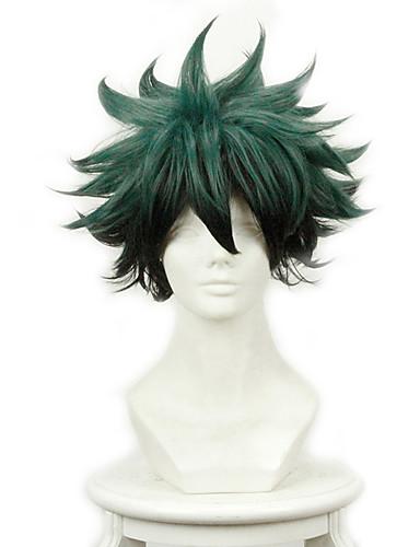 povoljno Anime cosplay-Moj junak Akademija / Boku Nema heroskih akademija Midoriya Izuku Cosplay Wigs Muškarci Žene 11.8 inch Otporna na toplinu vlakna Tamno zelena Anime