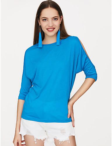 billige Dametopper-Bomull Store størrelser T-skjorte Dame - Ensfarget Svart / Utskjæring