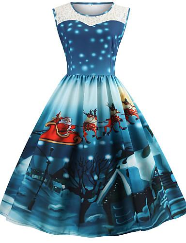 preiswerte Kleider in Übergröße da Donna-Damen Übergrössen Festtage Retro 50er Baumwolle A-Linie Kleid - Druck Knielang Weihnachtsmann
