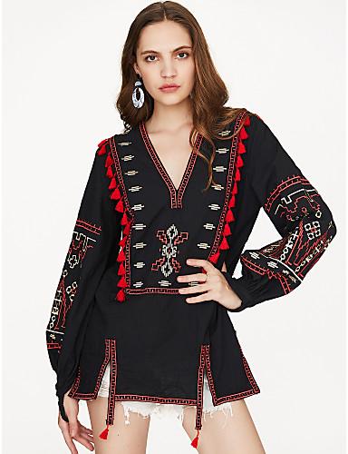 preiswerte Alles für sexy V-Ausschnitt-Damen Einfarbig Festtage Bluse, V-Ausschnitt Schwarz / Stickerei