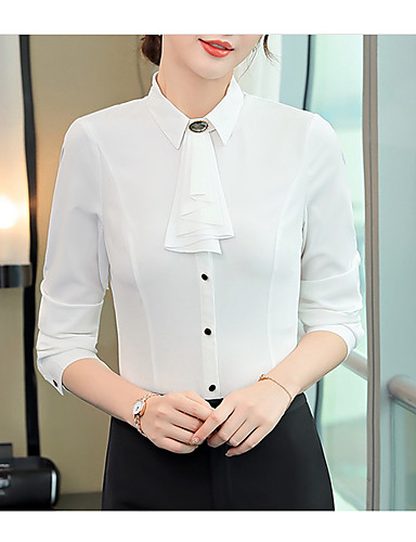 billige Skjorter til damer-Tynn Skjortekrage Store størrelser Skjorte Dame - Ensfarget, Lapper Grunnleggende Arbeid Hvit