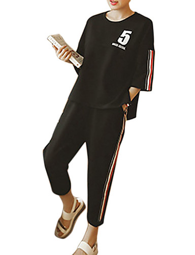 povoljno Odjeća za fitness, trčanje i jogu-Žene Trenirka Zumba Yoga Trčanje Sportski Dungi Veći konfekcijski brojevi Prozračnost Izzadás-elvezető T-majica Hlače Sportska odijela Rukava do lakta Odjeća za rekreaciju Mikroelastično