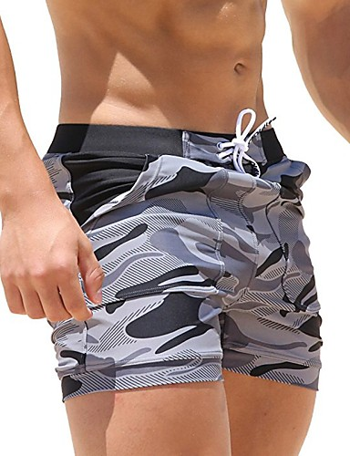cheap Wetsuits, Diving Suits & Rash Guard Shirts-Men's Swim Shorts Swim Trunks Spandex Board Shorts Breathable Quick Dry Drawstring - Swimming Diving Surfing Camo / Camouflage / Micro-elastic / Beach