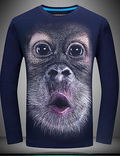 preiswerte Herrenmode-Herrn Tier - Retro Übergrössen Baumwolle T-shirt, Rundhalsausschnitt Schlank Blau / Langarm