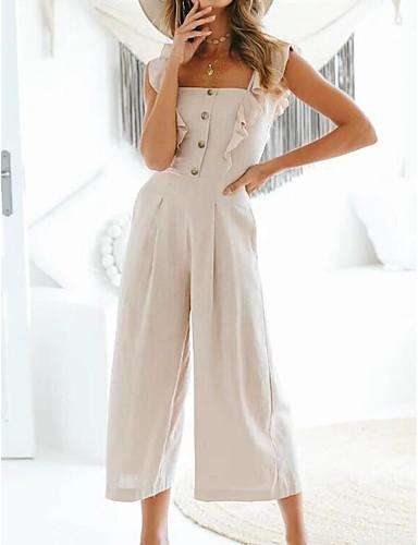 preiswerte Damenbekleidung-Damen Alltag / Ausgehen Gurt Beige Breites Bein Overall Einteiler, Solide S M L Ärmellos