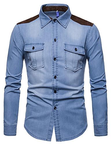 Homens Camisa Social Básico Ganga, Estampa Colorida Azul empoeirado Azul Claro