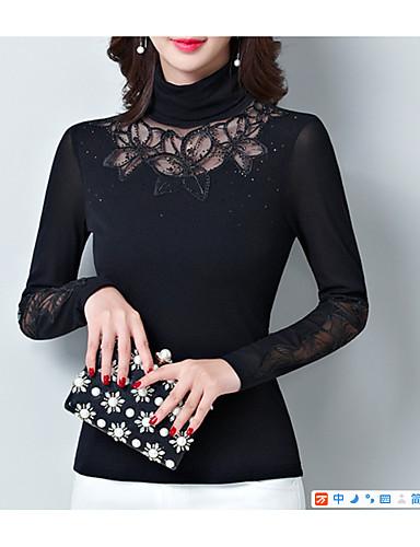 billige T-skjorter til damer-Bomull Tynn Rullekrage T-skjorte Dame - Ensfarget, Lapper Grunnleggende Svart / Sexy