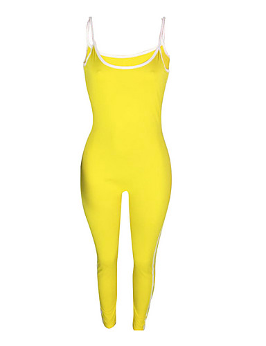 cheap Women's Tops-Women's Going out / Beach Strap Yellow Harem Slim Jumpsuit Onesie, Solid Colored S M L Sleeveless / Sexy