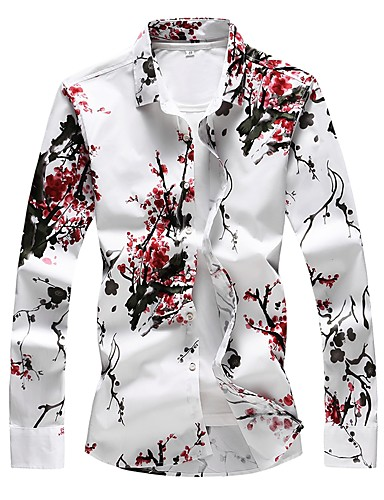 cheap Men's Shirts-Men's Plus Size Floral Print Slim Shirt - Cotton Basic Daily Going out Red / Long Sleeve