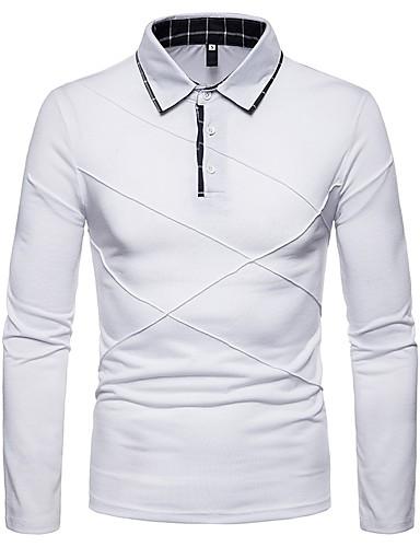 levne Pánská polo trika-Pánské - Barevné bloky Polo Košilový límec Černá / Dlouhý rukáv