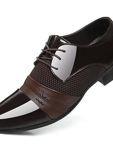 billige Oxford-sko til herrer-Herre Formell Sko PU Vår Forretning Oxfords Svart / Brun