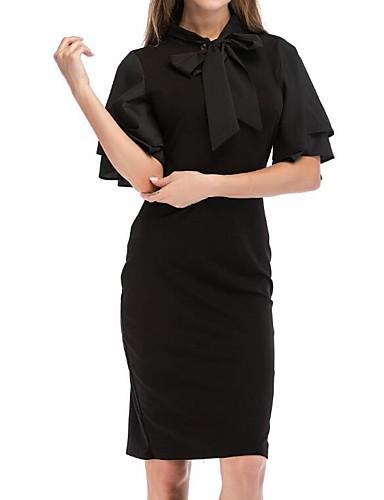 levne Pracovní šaty-Dámské Jdeme ven Štíhlý Pouzdro Šaty - Jednobarevné, Volány Midi Černá