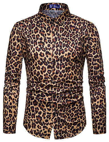 voordelige Herenoverhemden-Heren Overhemd Club Luipaard Spread boord Wit / Lange mouw / Lente / Herfst
