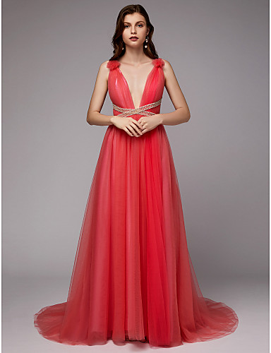 f53b68af2b32b [$149.99] A-Line Plunging Neck Sweep / Brush Train Tulle / Sequined  Beautiful Back / Celebrity Style Formal Evening Dress with Sequin / Pleats  by TS ...